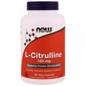 L-Cytrulina 750mg  Now Foods 180kaps.  L-Citrulline