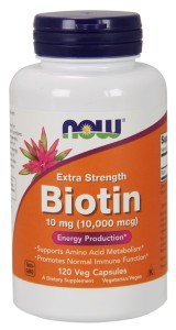 Biotyna Extra Strength Biotin 10mg Now Foods 120kaps.