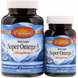 Super Omega-3 1200mg 100+30 kapsułek Carlson Laboratories