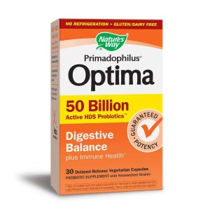 Nature's Way Primadophilus Optima 50 Billion Active HDS Probiotics Digestive Balance + Immune Health 30kaps.