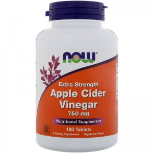 Apple Cider Vinegar Ocet Jabłkowy 750mg 180kaps Now Foods Extra Strength NOW