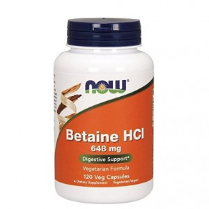 Betaina HCL 648mg Now Foods 120kaps. Betaina z Pepsyną Betaine